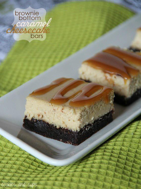 brownie bottomed caramel cheesecake bars