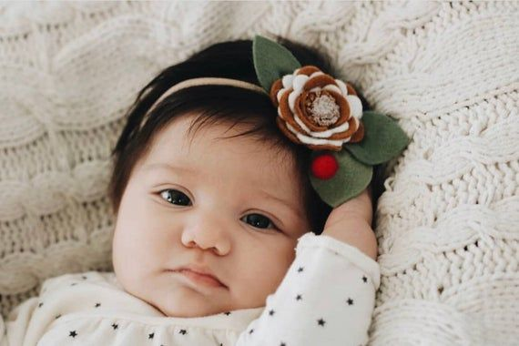 Gingerbread Cookie Felt Flower Hair Clip, Gingerbread Cookie Felt Flower Headband #feltflowerheadbands