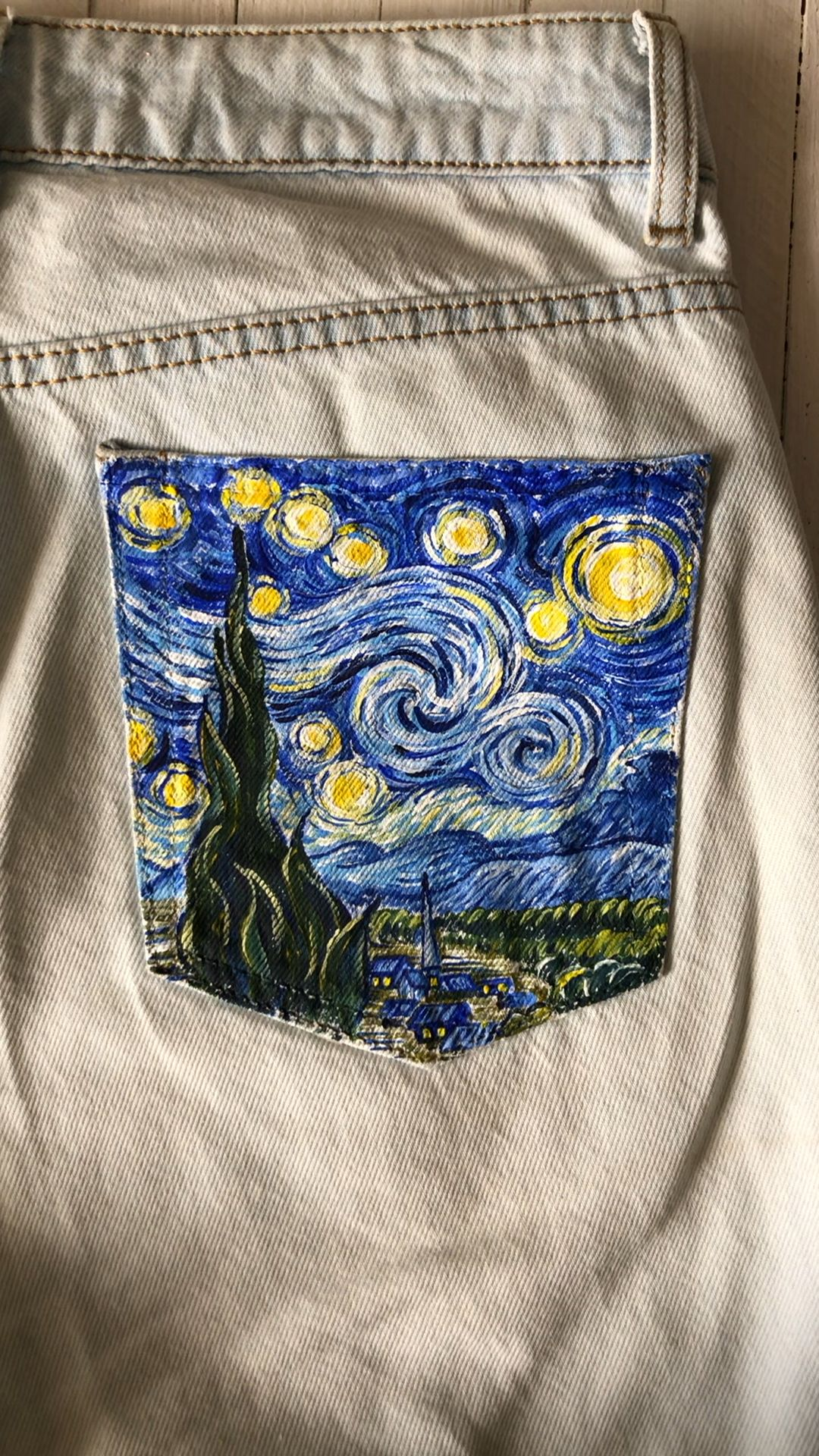 Hand painted jeans pocket Van Gogh Starry Night jean price | Etsy