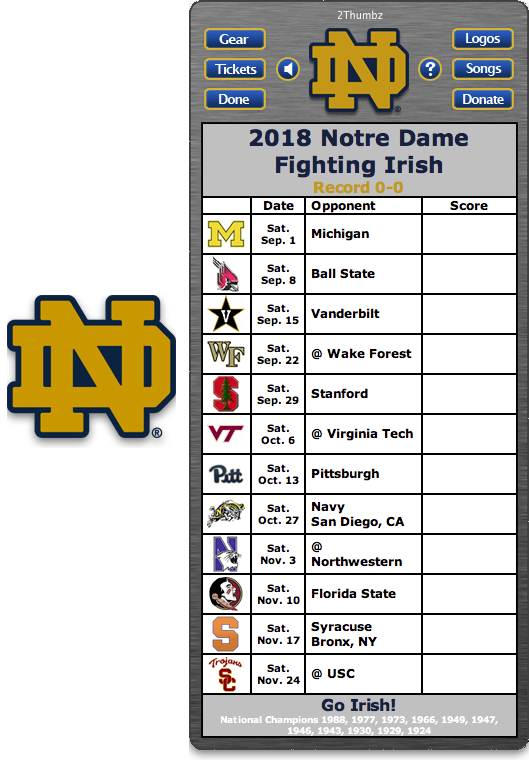 Get your 2018 Notre Dame Fighting Irish Football Schedule