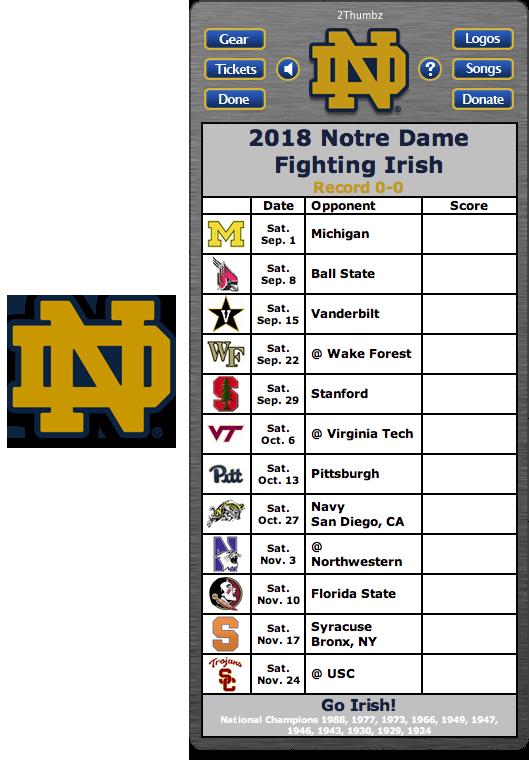 Get your 2018 Notre Dame Fighting Irish Football Schedule