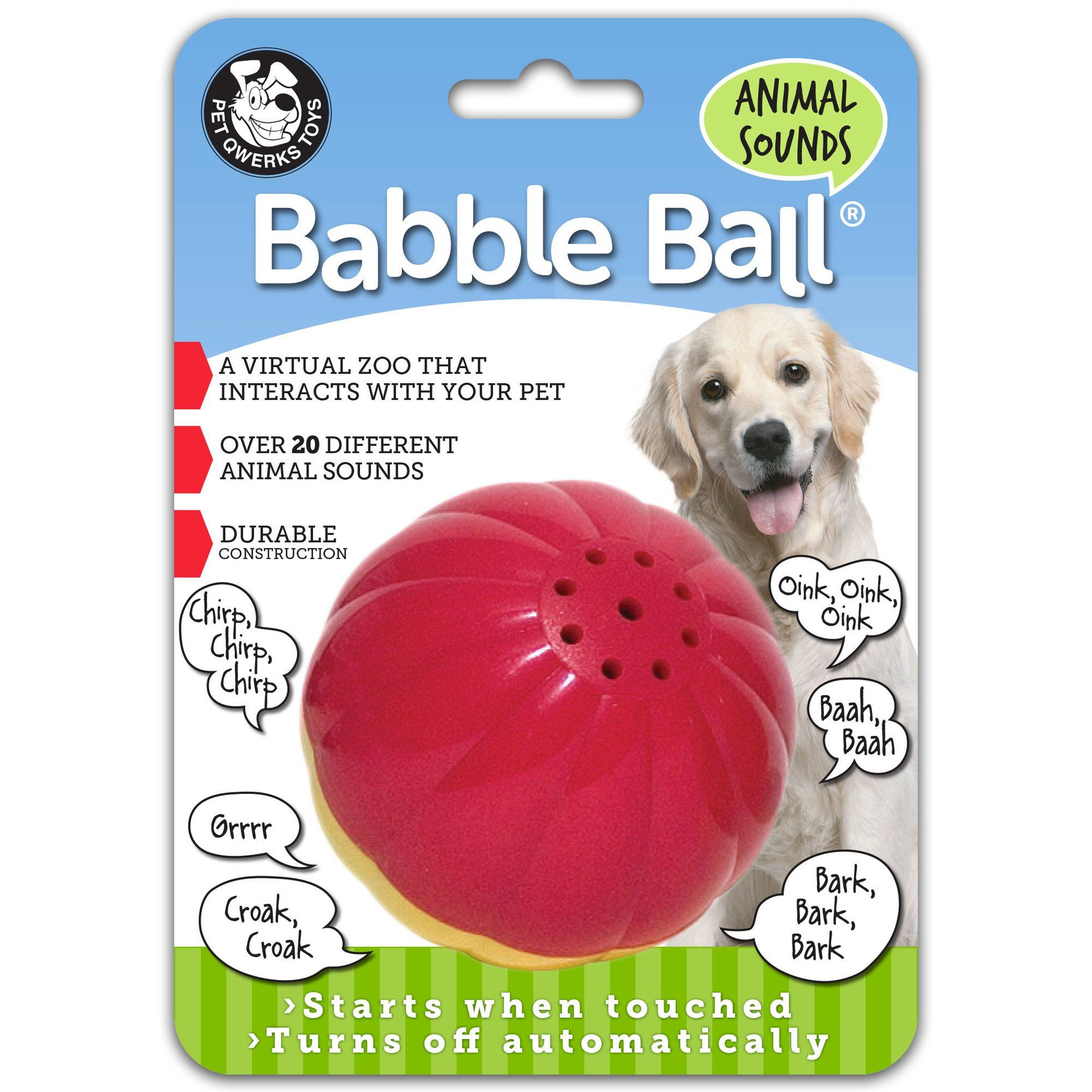 Pet Qwerks Animal Sounds Babble Ball For Dogs Large Interactive