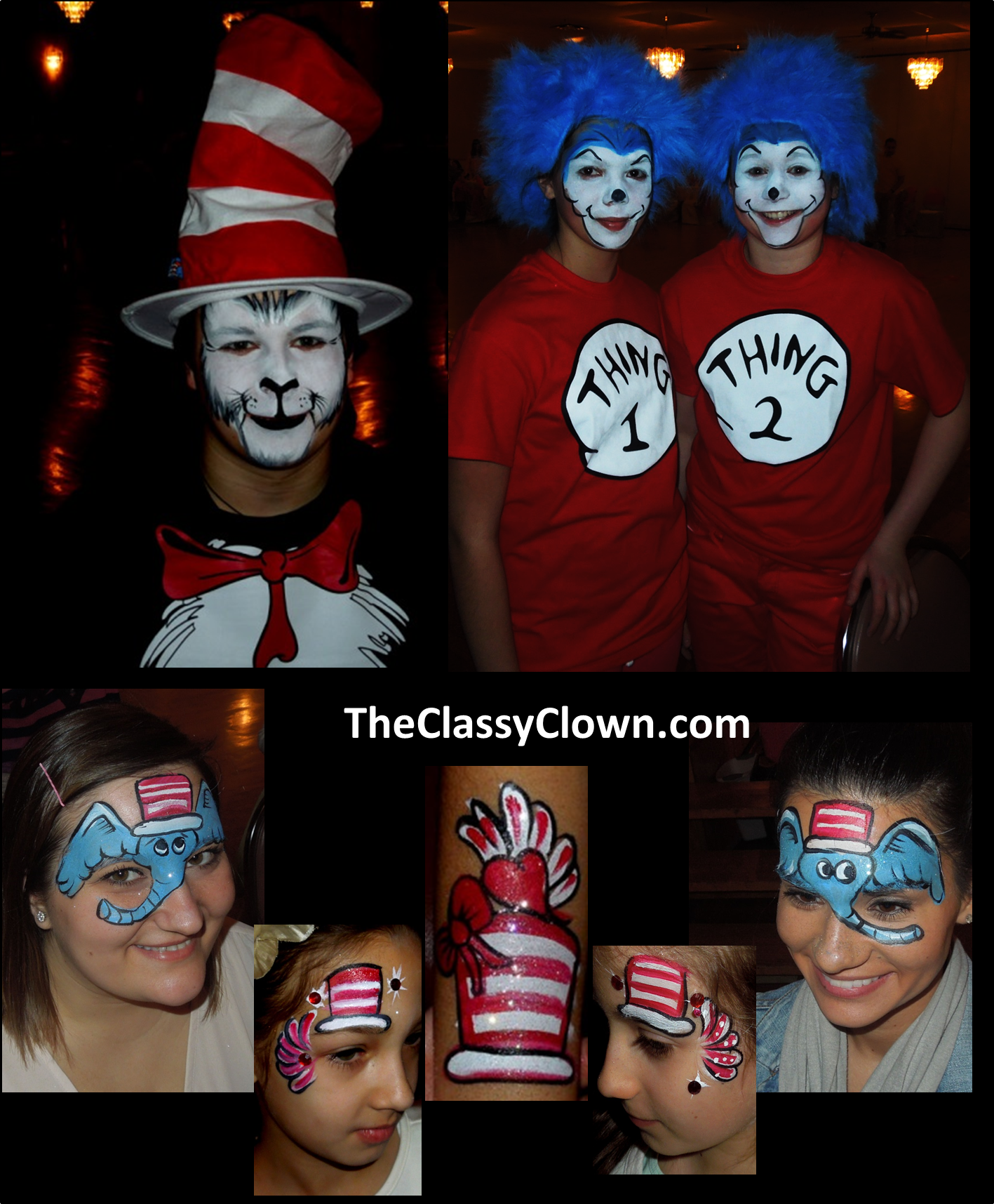 Clown Schminken Suess Dr Seuss Cat In The Hat Thing 1 Thing 2 Face Painting Party Fun