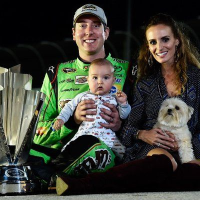 Family photo of the celebrity, married to Samantha Sarcinella, famous for  2009 NASCAR Nationwide Series champion, 2015 NASCAR Sprint Cup Series champion and Kyle Busch Motorsports.