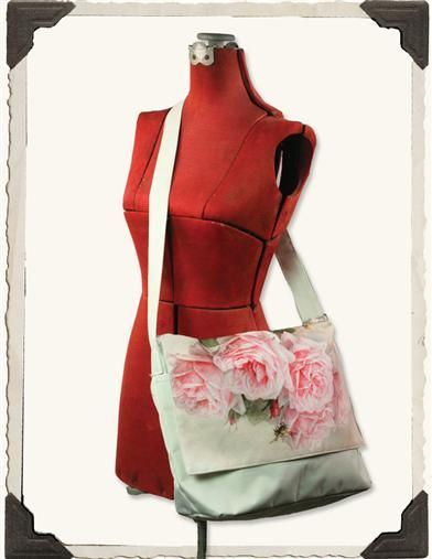 'WATERCOLOR ROSES' MESSENGER BAG - SPECIAL PRICE!  Canvas - Victorian trading company