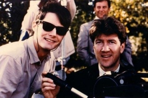 David Lynch and Kyle MacLachlan on the set of Blue Velvet.