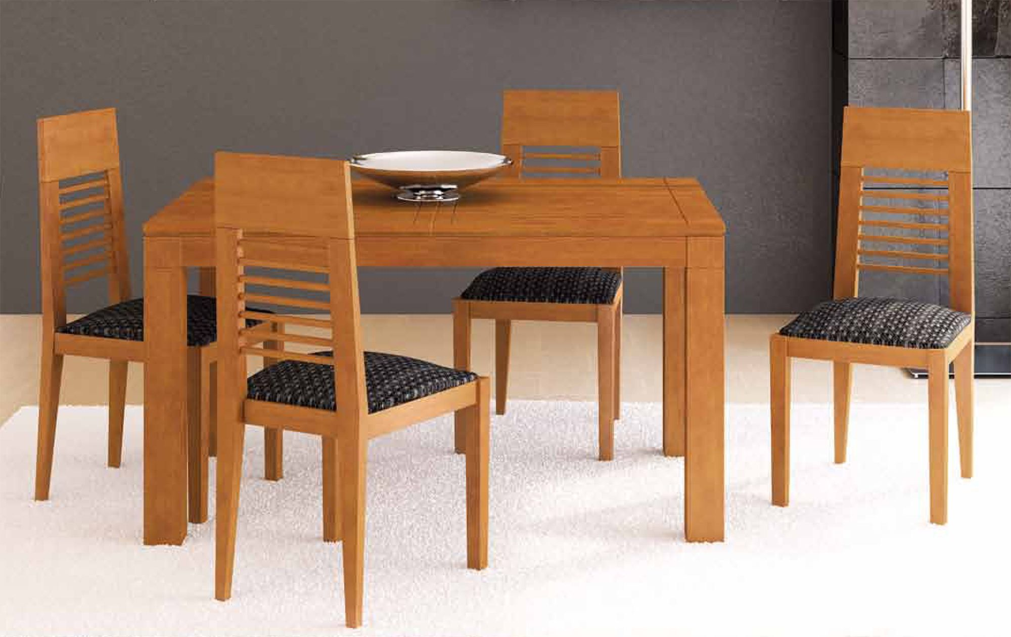 Mesa de comedor de 140x90 cm con tapa de madera y for Catalogo de comedores de madera