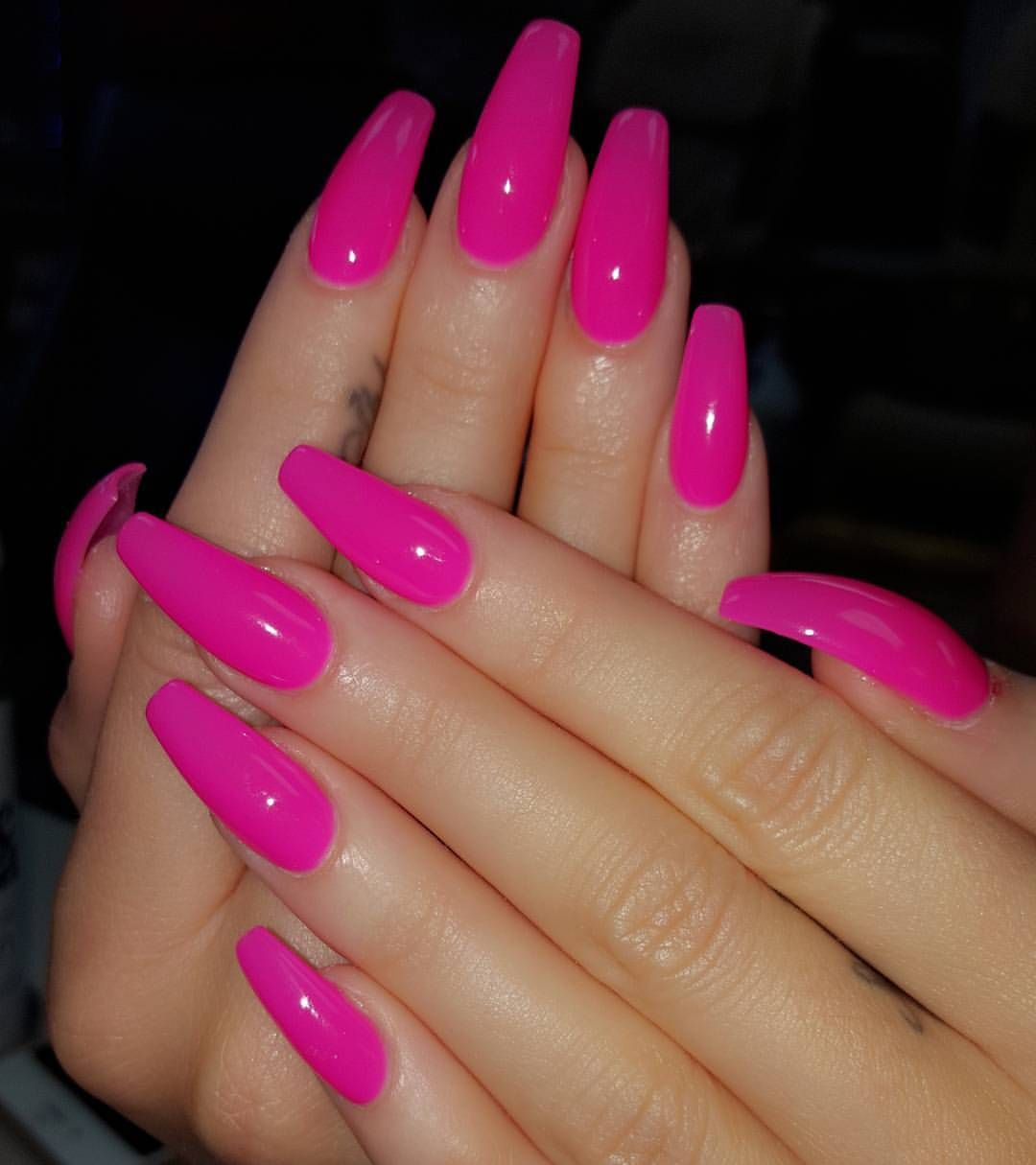 Pink Coffin Nails With Images Pink Nail Colors Pink Acrylic