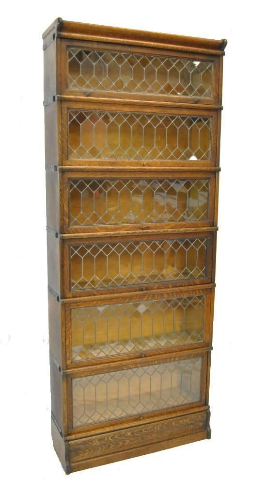 Six Section Quarter Sawn Oak Barrister Bookcase With Leaded Glass