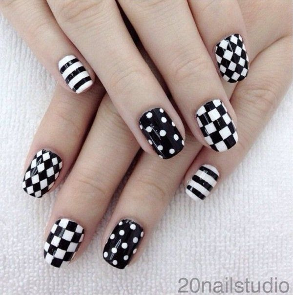 60 examples of black and white nail art plaid black and white nails 60 examples of black and white nail art prinsesfo Choice Image