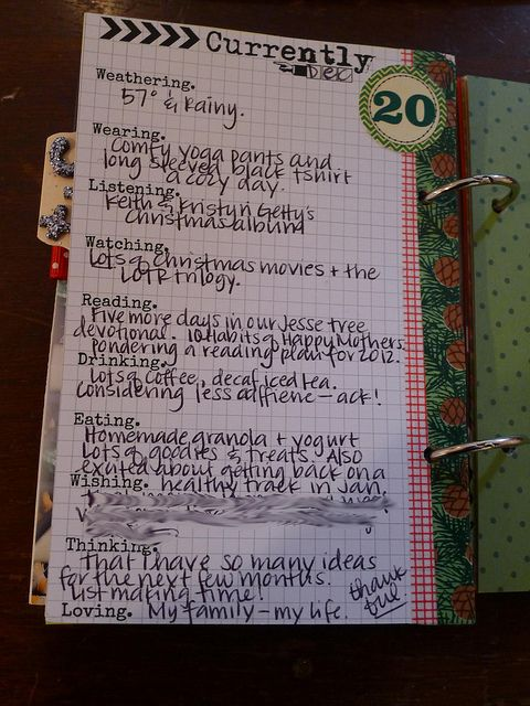 """December Daily -- """"Currently..."""" list  (journal prompts)"""