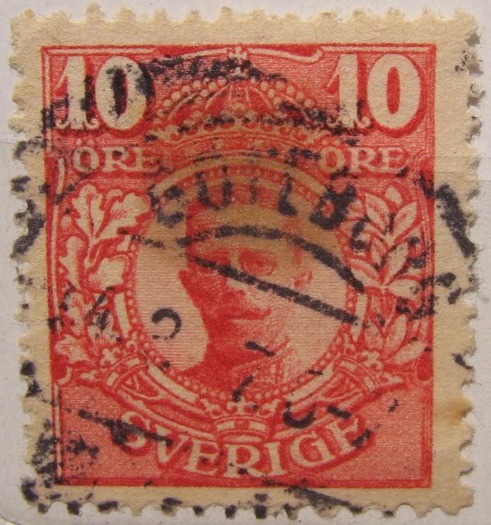 1910-14 Sweden #71 10 ore carmine King Gustaf V