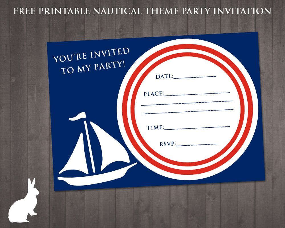 FREE Nautical Party Theme Invitation Ruby and the Rabbit