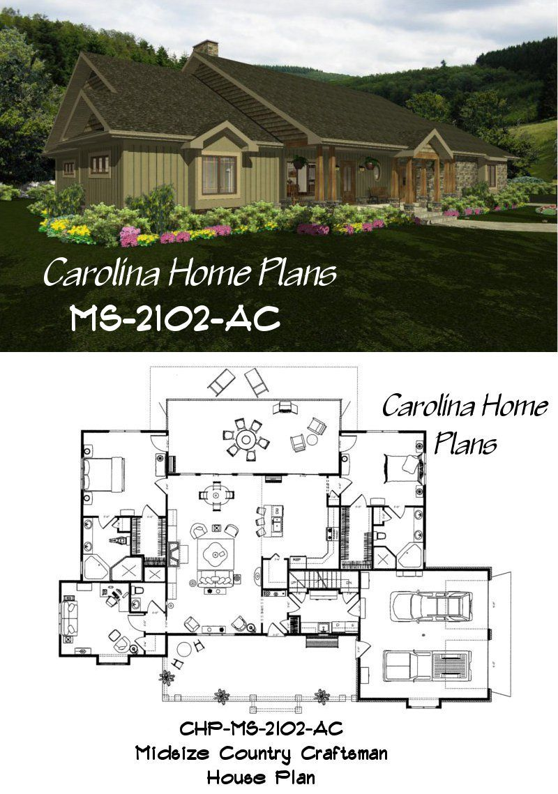 Charming And Inviting 3 Bedrooms 3 Bath Sophisticated Rustic House Plan Ms 2102 Ac Avail Craftsman House Plans Rustic House Plans Craftsman Style House Plans
