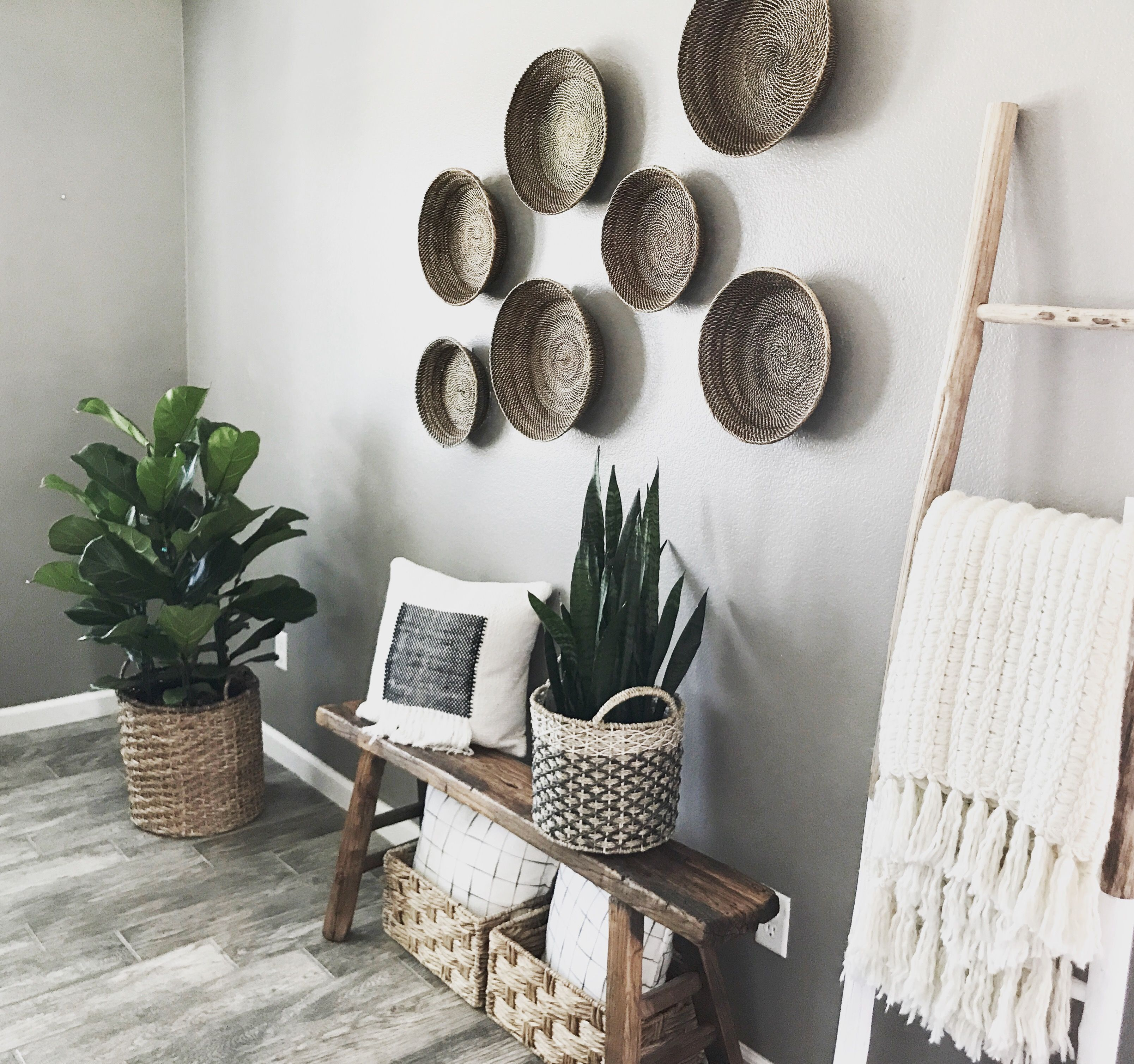 Snake Plant Fiddle Leaf Fig Boho Wall Baskets Blanket Ladder Bench Boho Living Room Decor Blanket Ladder Decor Chandelier In Living Room #throw #basket #for #living #room
