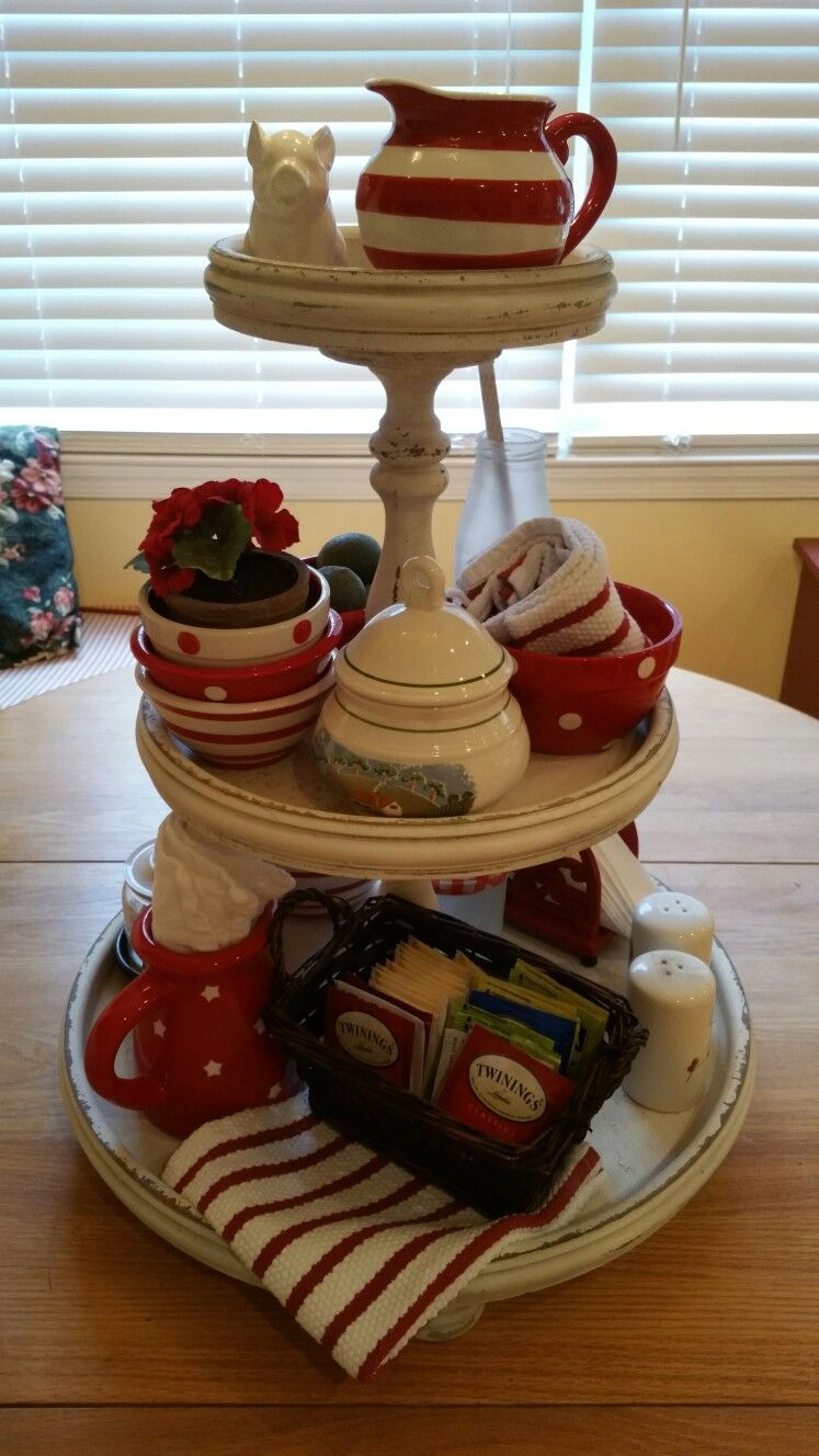 Three Tiered White Wood Tray Set With Red And White Bowls And Pitchers Tiered Tray Tiered Tray Decor Tray Decor