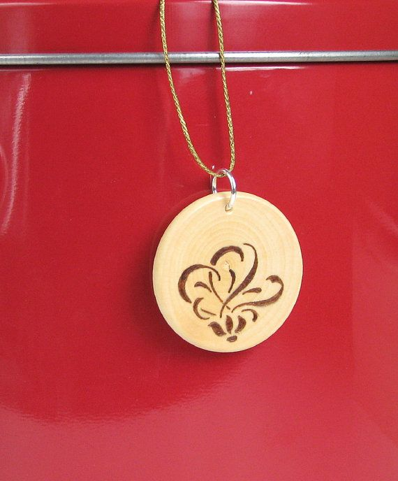 Wood Pendant - wood pyrography - wooden jewelry