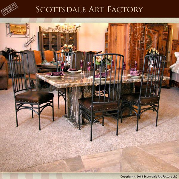 Solid Granite Dining Table With Blacksmith Hand Forged Iron Chairs Granite Dining Table Dining Room Table Marble Dining Table Marble