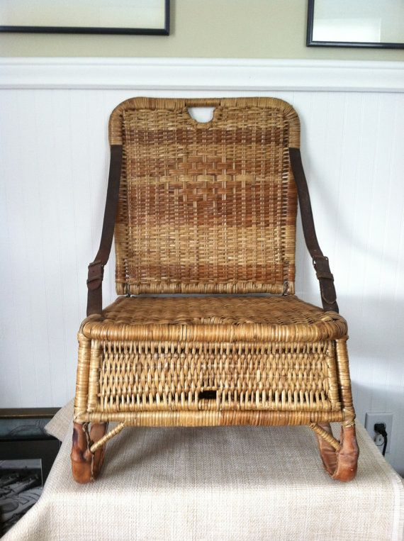 canoe chair xl desk seat vintage wicker portable folds up by stoneheartsvintage 195 00