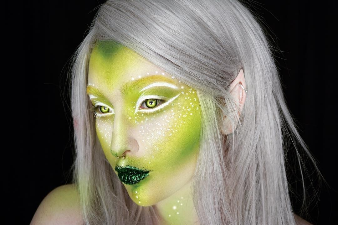 I like this idea for an alien. Maybe get a white wig. Or maybe even a green or black one. #alienmakeup