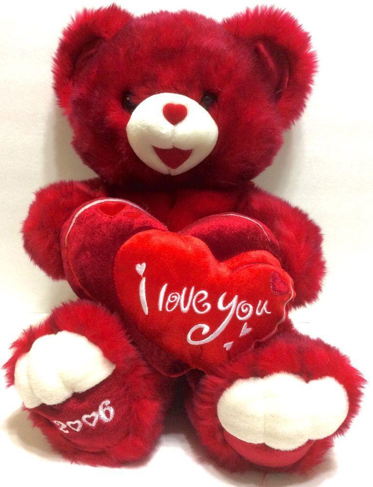 Dan Dee Large Teddy Bear Red Hearts 2006 Anniversary Valentine S Day Plush Teddy Bears Valentines Valentines Day Teddy Bear Bear Valentines