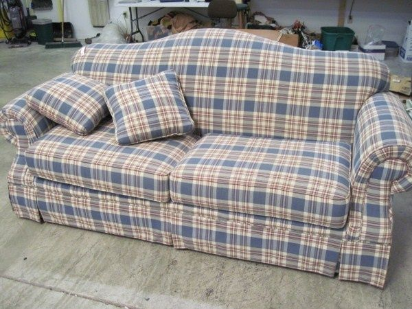 Country Plaid Sofa And Loveseat Broyhill Roll Arm Light Blue