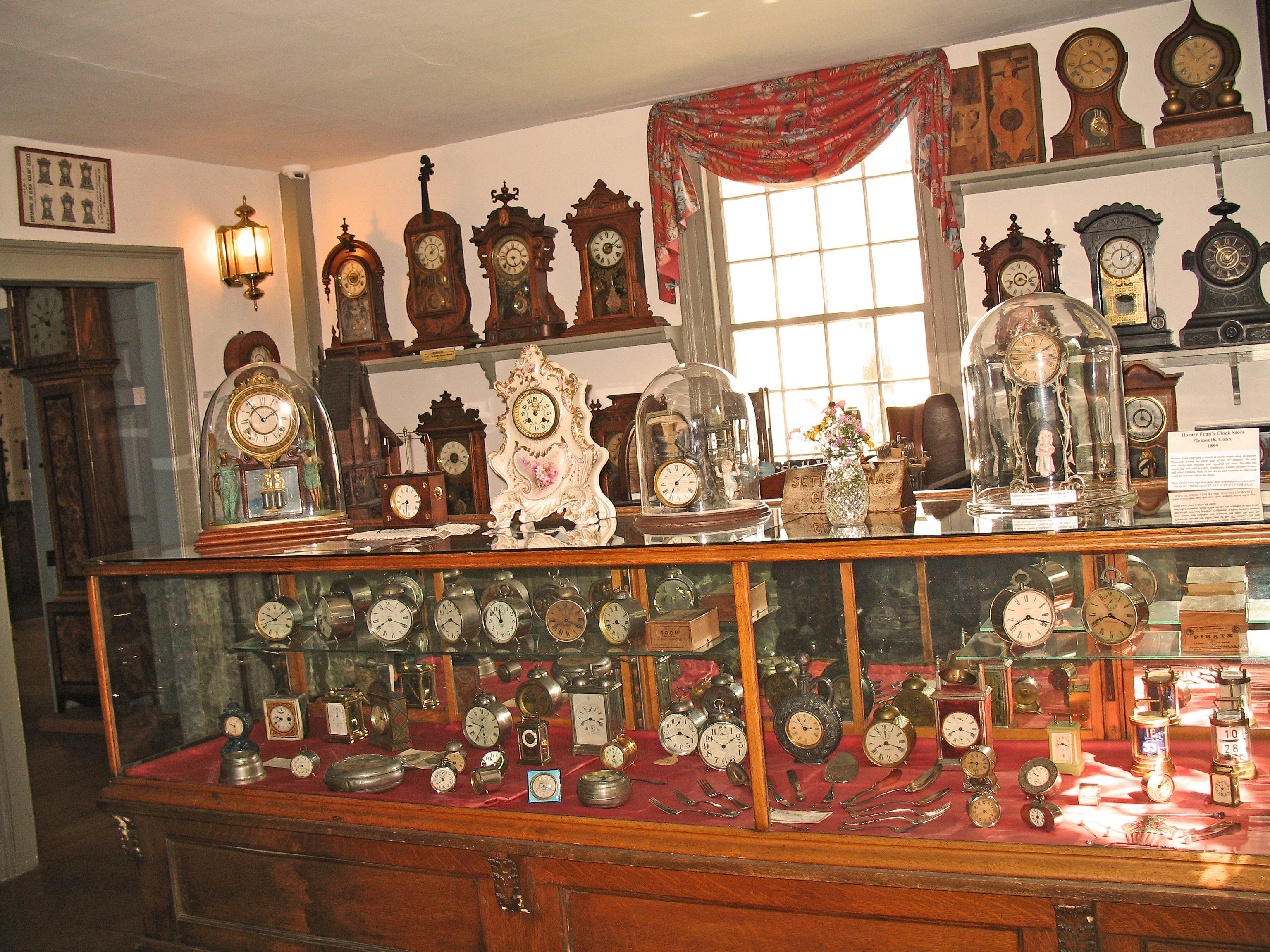 Clock shop exhibit at the American Clock & Watch Museum in