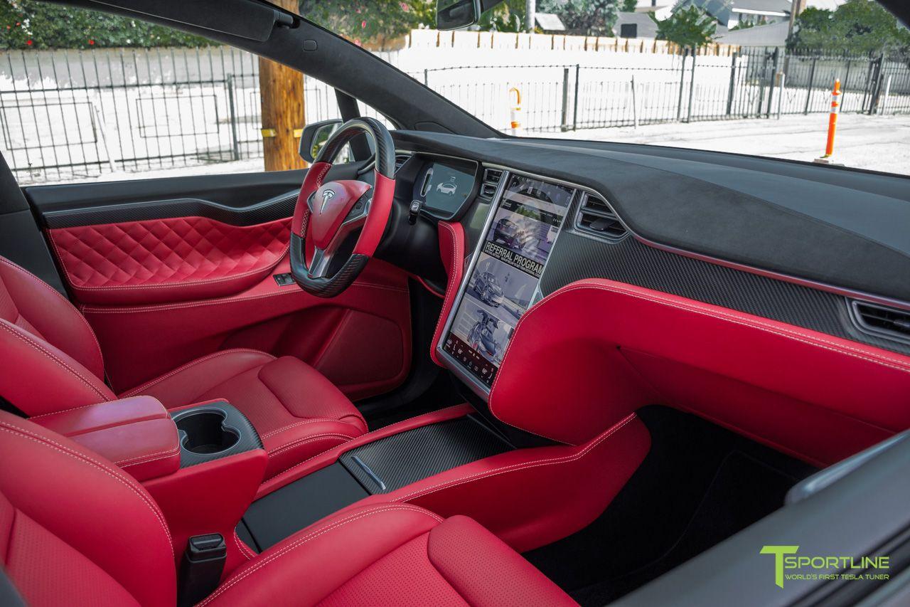 Tesla Model X Custom Interior In Bentley Red With Matte Carbon Fiber