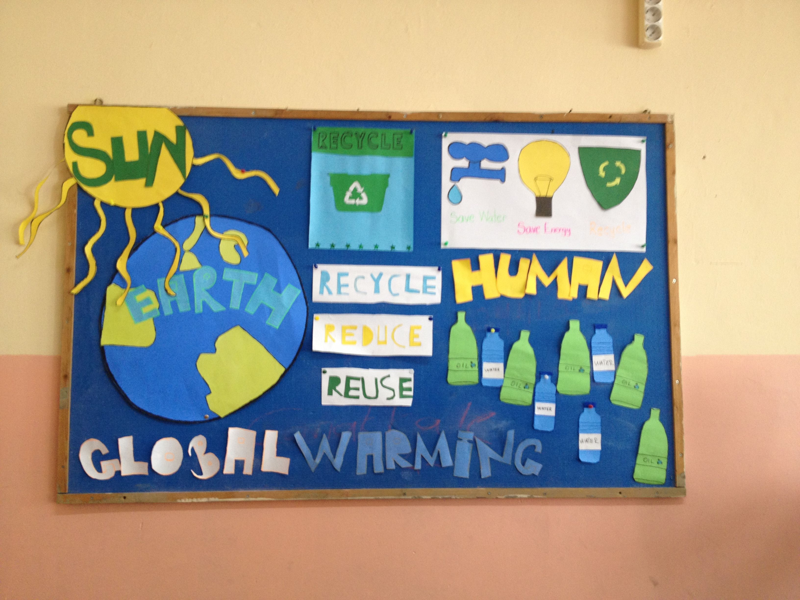 A bulletin board about global warming. Global warming