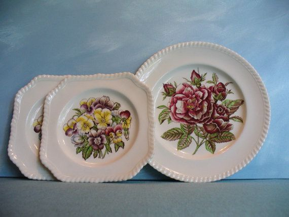 Dinnerware set vintage plates by mockingbirdgallerync & Johnson Brothers Old Flower Prints 2 Salads 8½