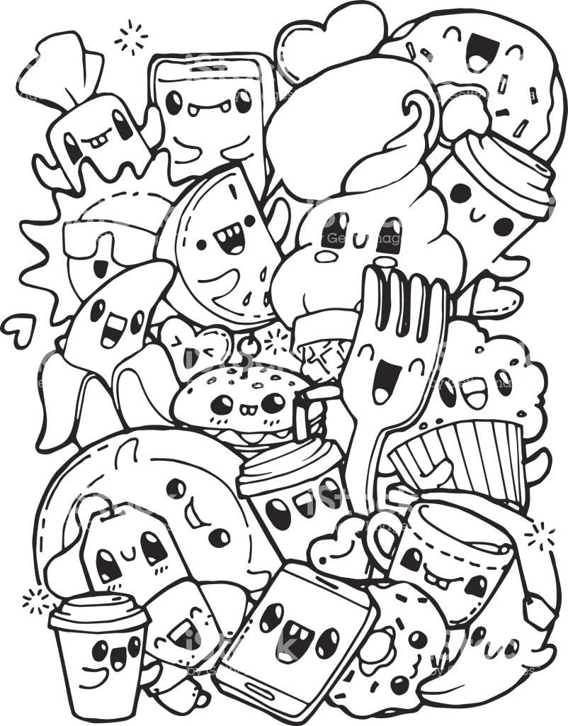 Awesome Kawaii Food Coloring Pages Luxury The Cartoon Sea Animals Are So Fun For Kids Cute Coloring Pages Cute Doodle Art Doodle Coloring