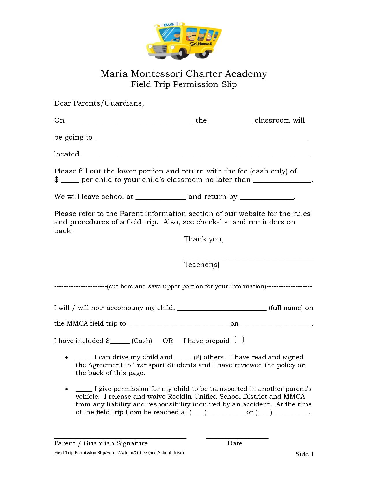 permission slip for field trip