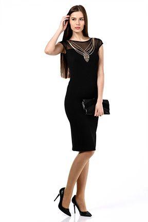 Siyah Kolye Aksesuarli Elbise Tozlu Com Elbise Modelleri Elbise Siyah
