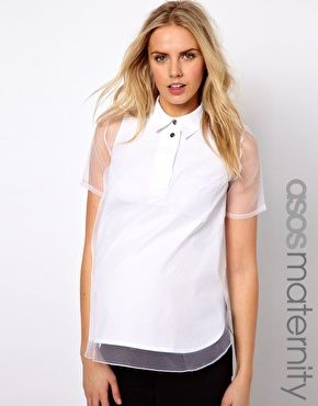 46aaf8f75f04 ASOS Maternity Shirt With Oversize Placket And Sheer Overlay ...