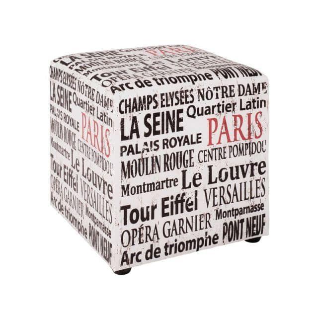 Sitzwürfel Hocker weiß-schwarz-rot Design Paris - Atelier Greiff
