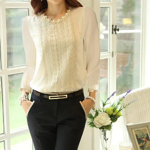 Women's Round Neck Blouse with Lace