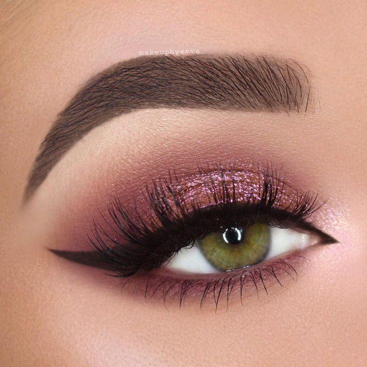 Photo of burgundy / pink shimmer smokey eye w / arabic black winged liner @makeupbyevva #e – ABELLA PİNSHOUSE