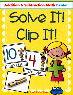 I Can Add & Subtract! Math Center (Clip It Cards) from Crystal McGinnis on TeachersNotebook.com -  (12 pages)  - My kids love clip it cards! I created this set of addition and subtraction clip it cards to place in my math center.