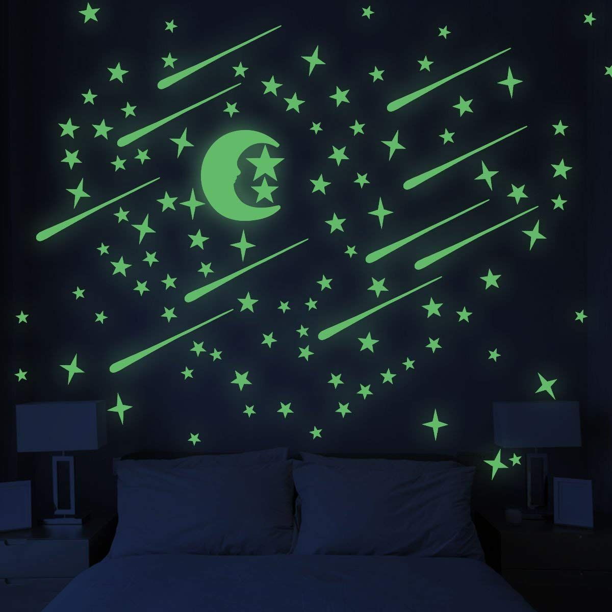 Amazon Com Unomor Glow In Dark Stars And Moon Glowing Stars For Ceiling And Wall Decals Perfect Kids Room Wall Stickers Wall Stickers Space Dark Home Decor