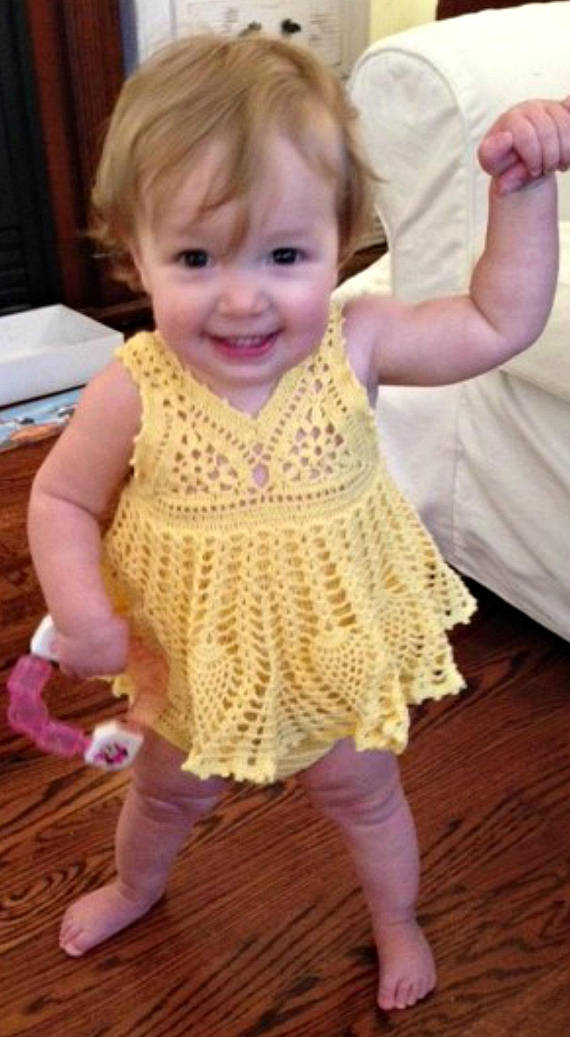 This allinone sundress onesie is made with crochet cotton and sized for a 612 monthold infant The little model in the photos is a petite 12 months While sporting a summer...