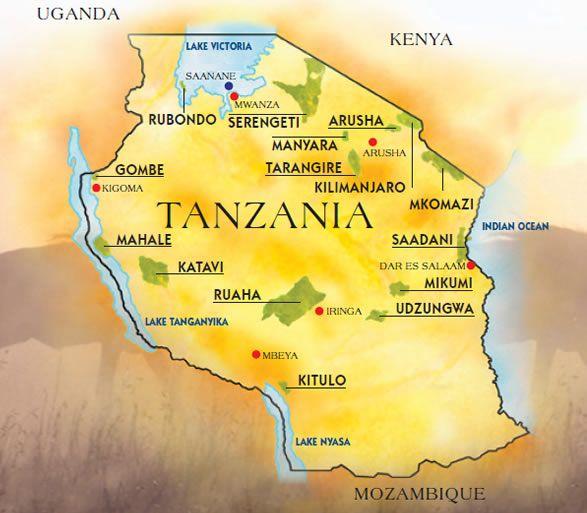 Kilimanjaro And National Park Maps Of Tanzania Tanzania In 2019