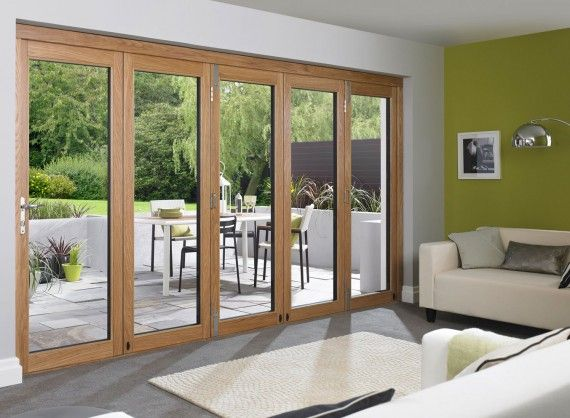 Ultra 12ft White Aluminium Clad Oak Folding Doors Vufold External Bifold Doors Oak Bifold Doors Bifold Doors