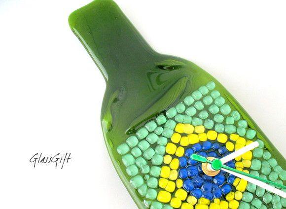 Relógio de Garrafa  Bandeira Brasileira    PRODUTO RECICLADO R$37,00