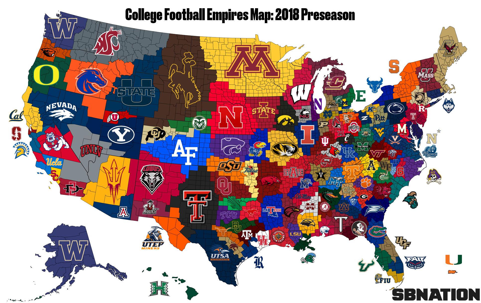 2018 College Football Empires Map Week 1 Sbnation Com College Football Map College Football Logos College Football