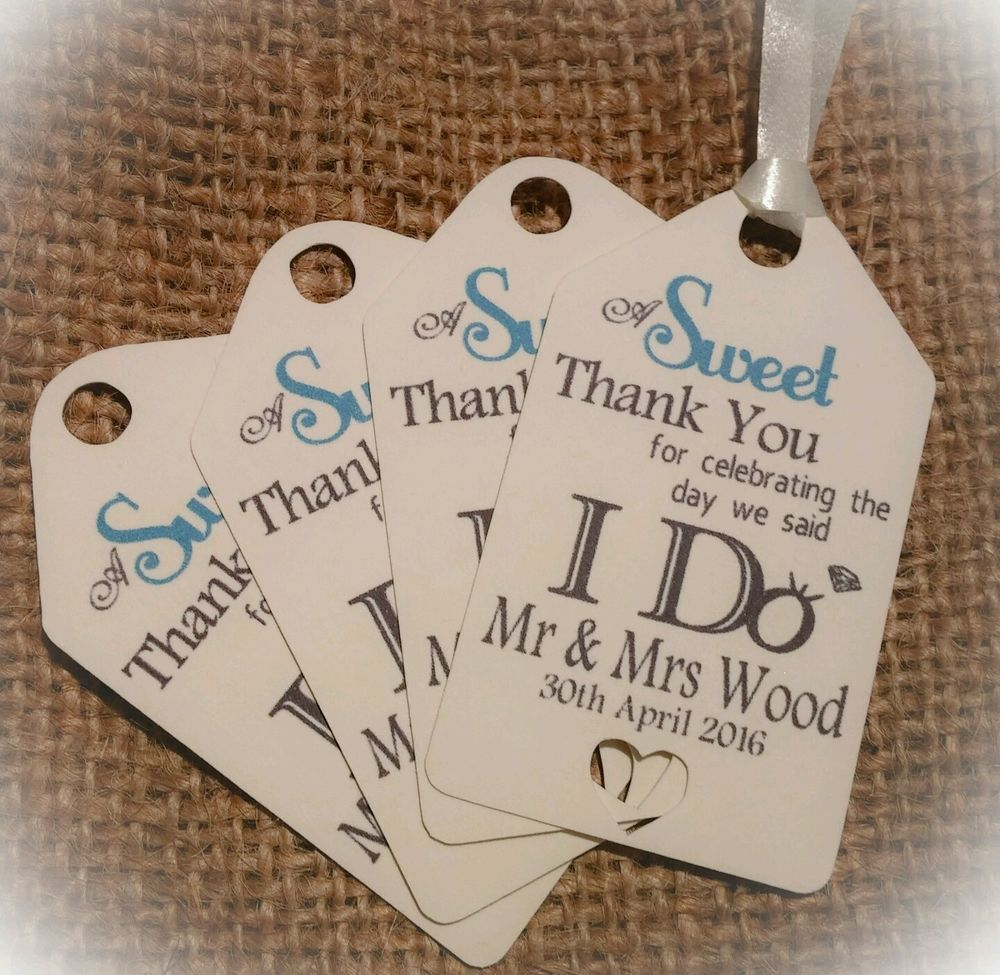 100 x Personalised Wedding Gift/Favour Tags Packs Vintage Luggage ...