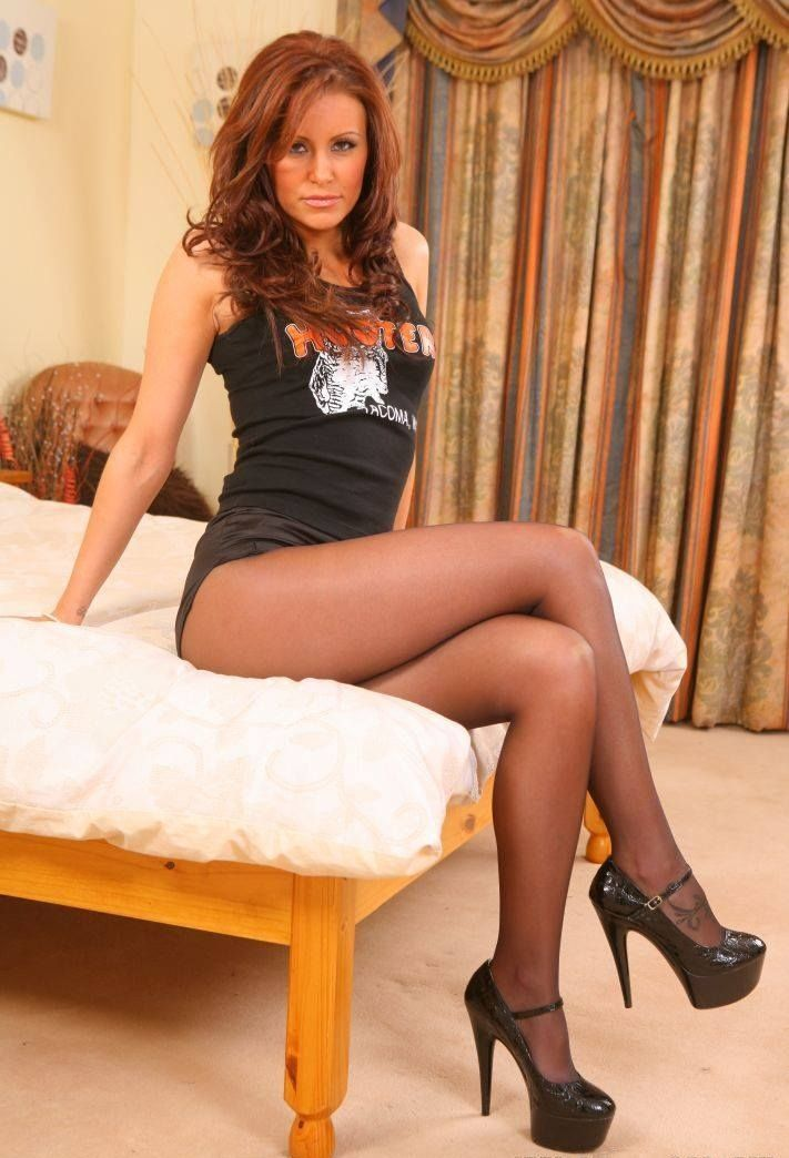 Females wearing pantyhose and heels
