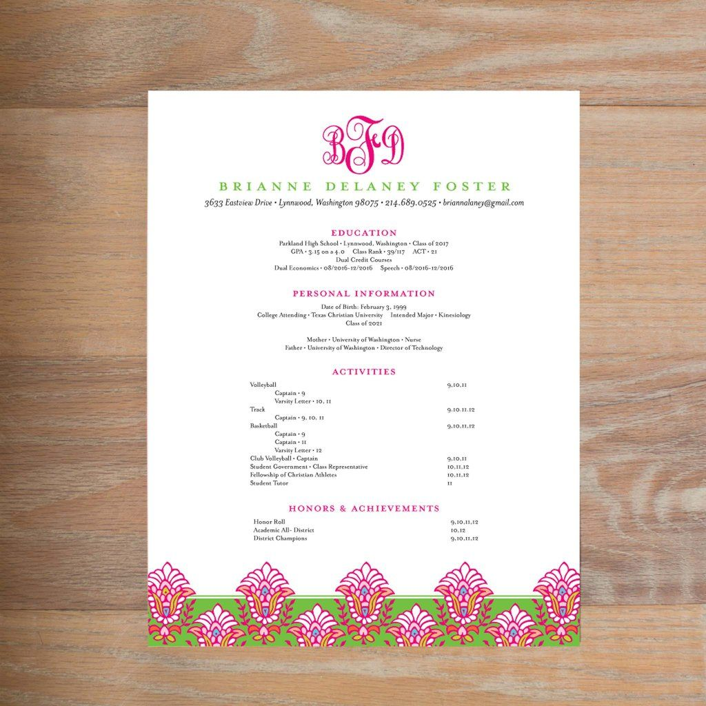 What To Include On A Sorority Resume Sorority Resume Social Resume Personal Resume