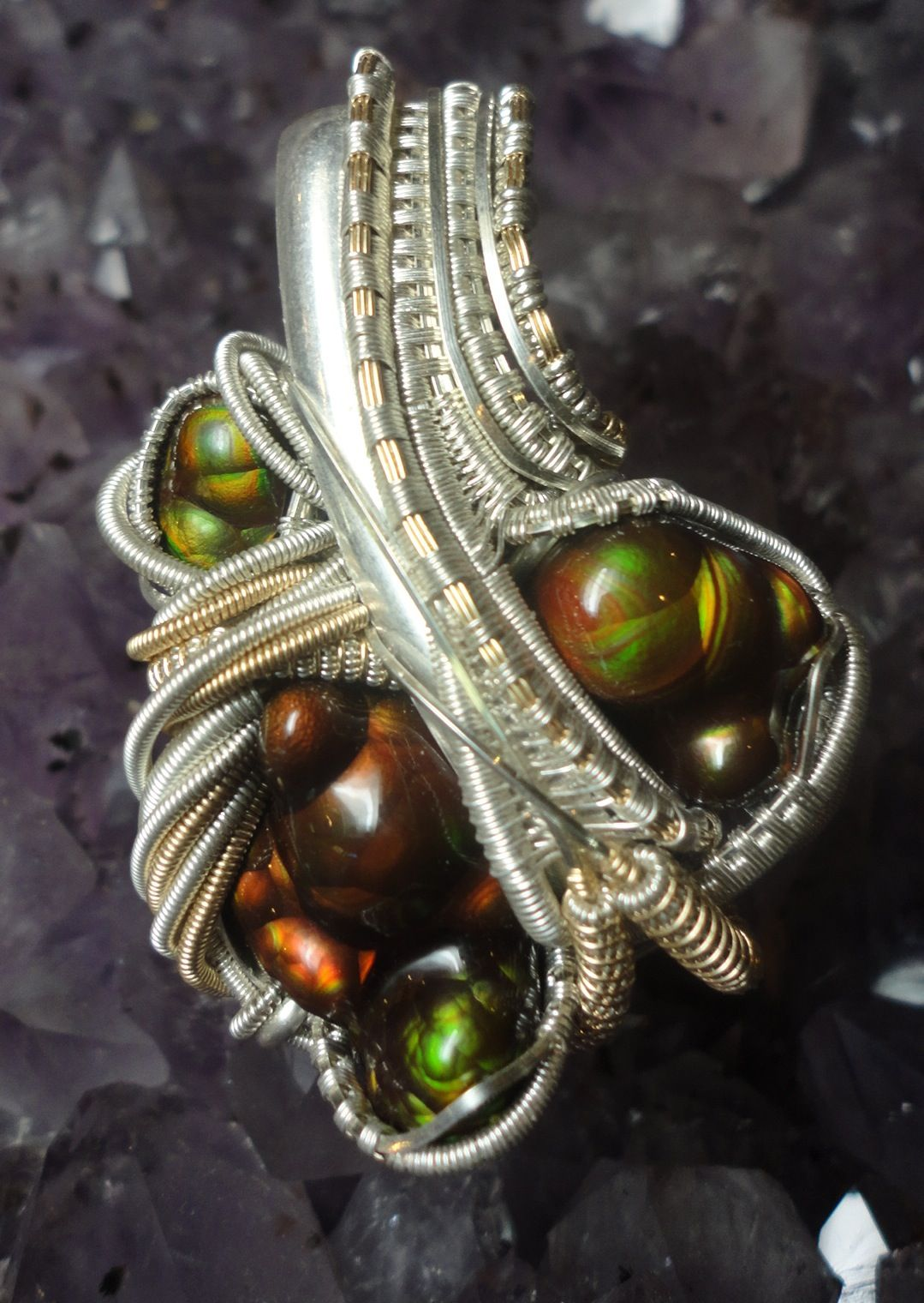 All top shelf Arizona Fire Agate pendant hand wrapped by LuminousFibersDesigns. Sterling silver and 14k g/f wire
