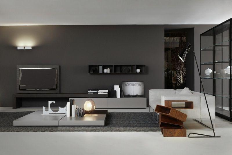 Moderne Wohnwand Style : Die moderne wohnwand besteht aus einem lowboard und wandregal