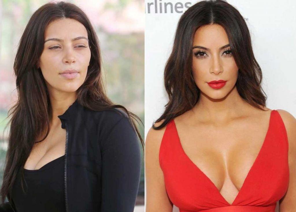 Kim Kardashian Makeup & Without Makeup
